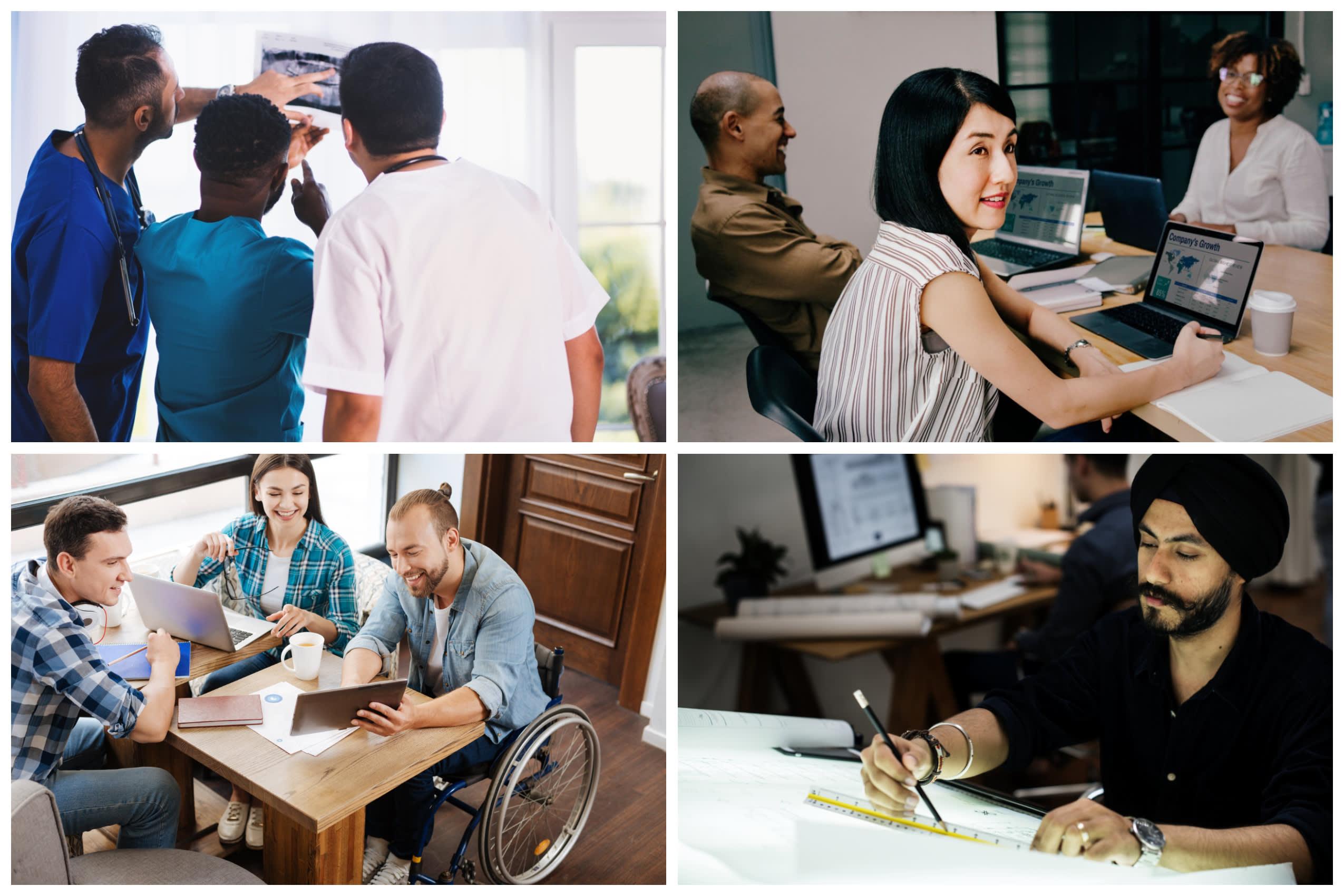 Eine Montage von Fotos, die Diversität am Arbeitsplatz zeigen, einschließlich Geschlecht, körperliche Leistungsfähigkeit und ethnischer Herkunft.