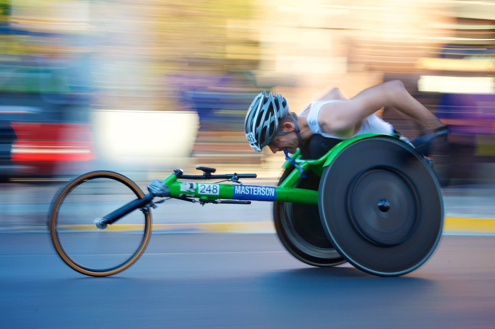 An athlete with disabilities competing in a race.