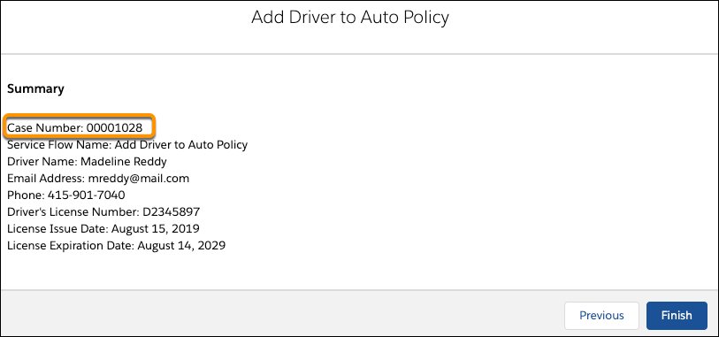 The Add Driver to Auto Policy summary page