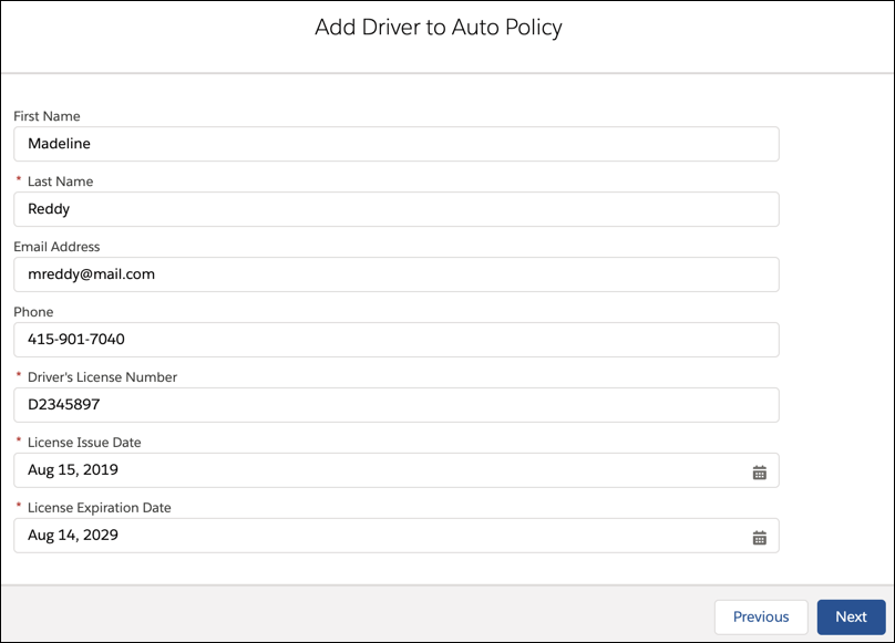The Add Driver to Auto Policy page filled out with info about Rachel Adams's niece