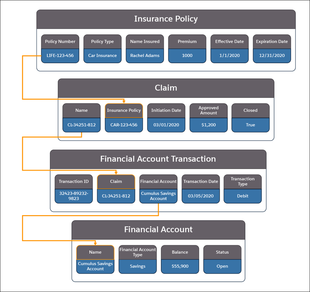 A picture showing the information contained in the Insurance Policy, Claim, Financial Account Transaction, and Financial Account objects and how they relate to each other.
