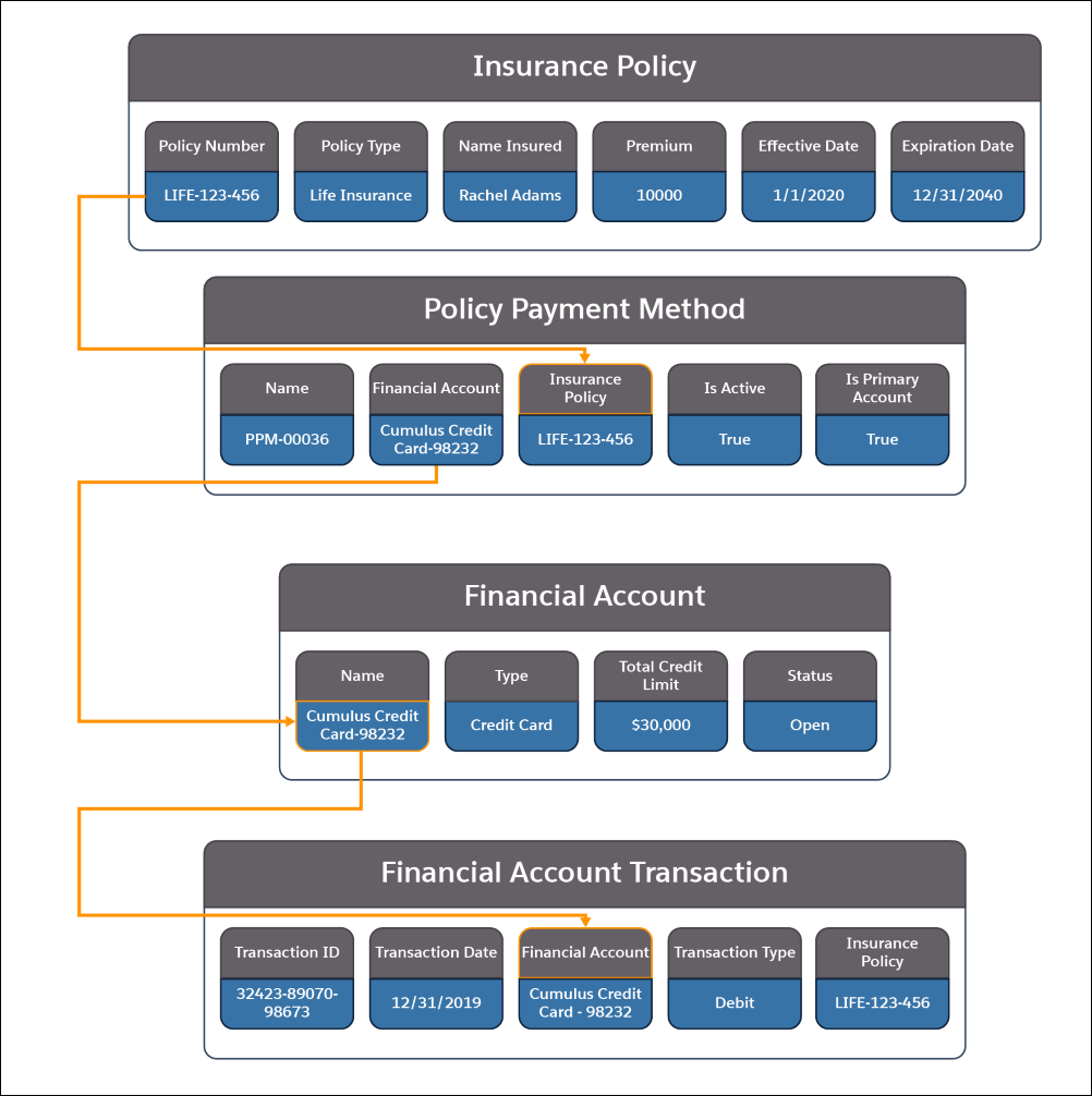 A picture showing the information contained in the Insurance Policy, Policy Payment Method, Financial Account, and Financial Account Transaction objects and how they relate to each other.