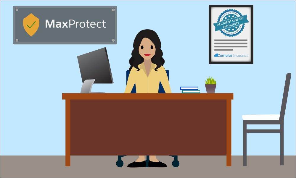 Ridhima from the MaxProtect agency is authorized by Cumulus Insurance to sell policies in the Accident line of authority.