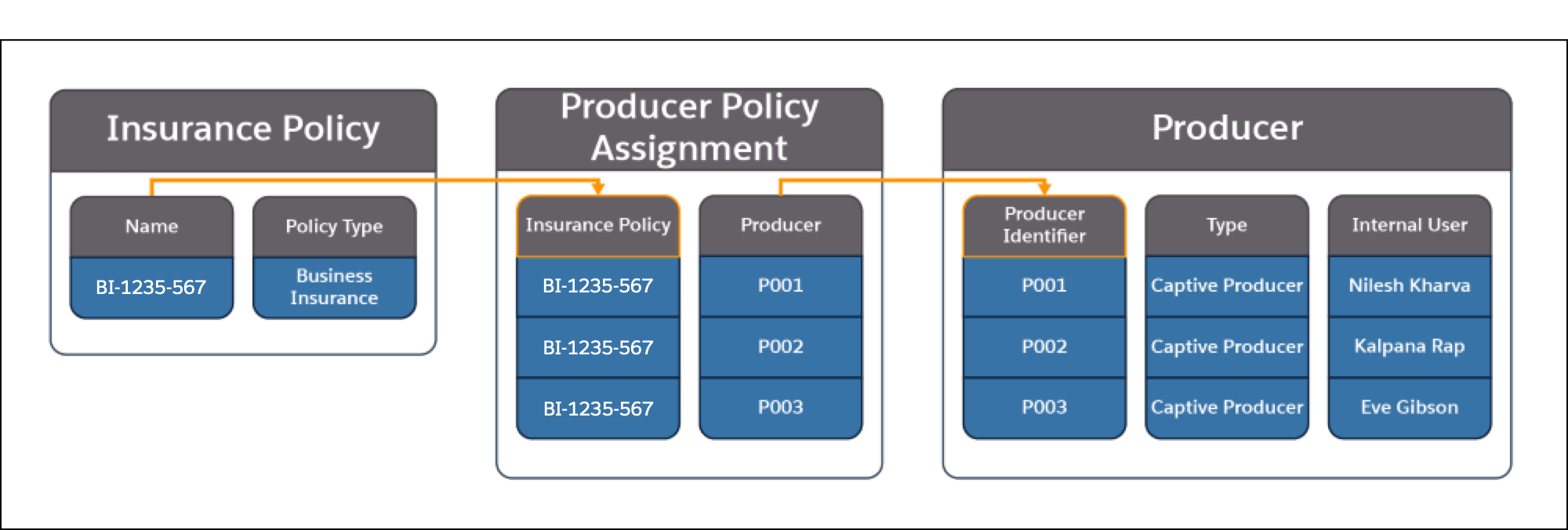 A picture showing the information contained in the Insurance Policy, Producer Policy Assignment, and Producer objects and how they relate to each other.