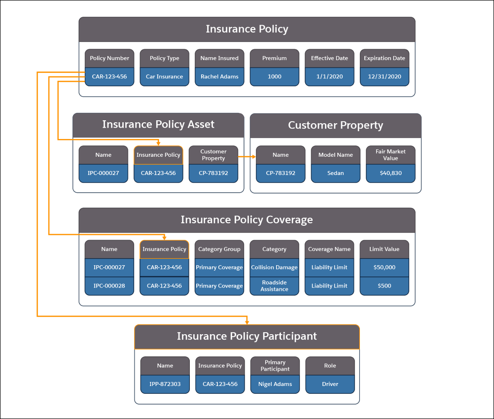 A picture showing the information contained in the Insurance Policy, Insurance Policy Asset, Customer Property, Insurance Policy Coverage, and Insurance Policy Participant objects and how they relate to each other.