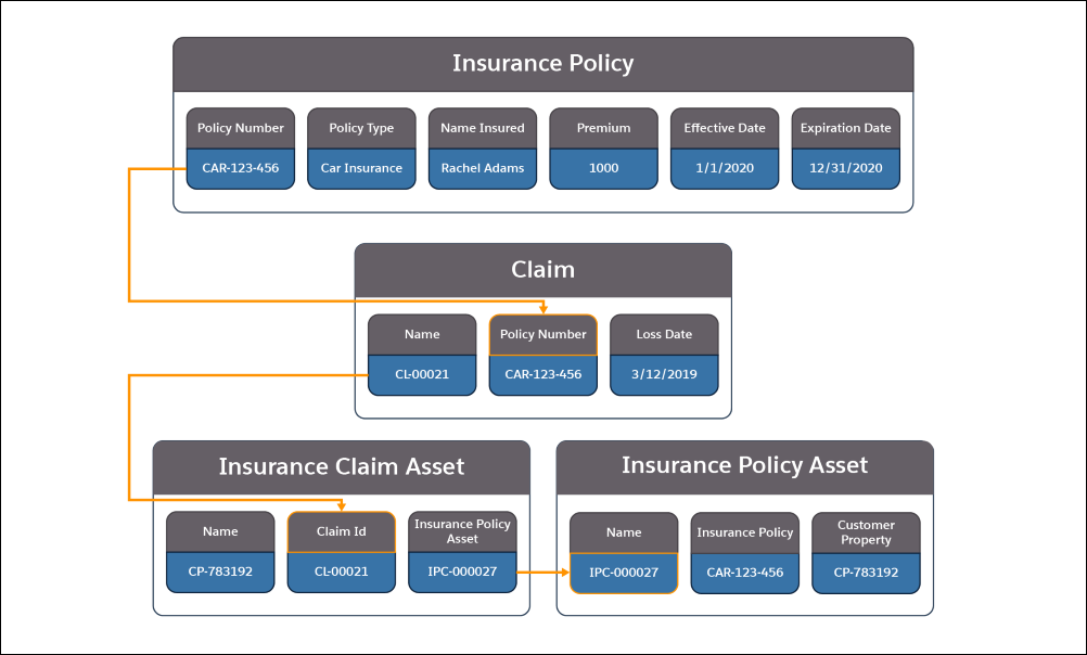 A picture showing the information contained in the Insurance Policy, Claim, Insurance Claim Asset, and Insurance Policy Asset objects and how they relate to each other.