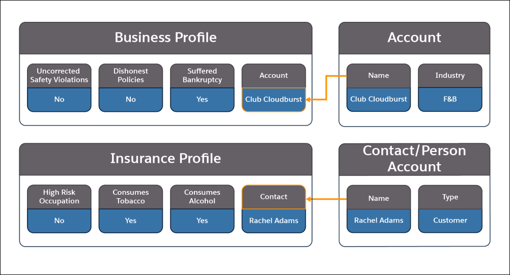 A picture showing the information contained in the Business Profile, Account, Insurance Profile, Contact, and Person Account objects and how they relate to each other.