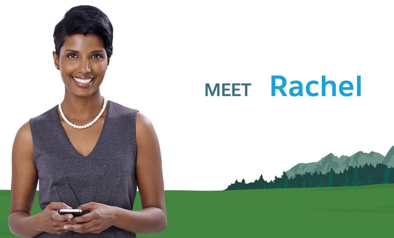 「Meet Rachel」(Rachel を紹介します) というキャプションの付いた Rachel の写真