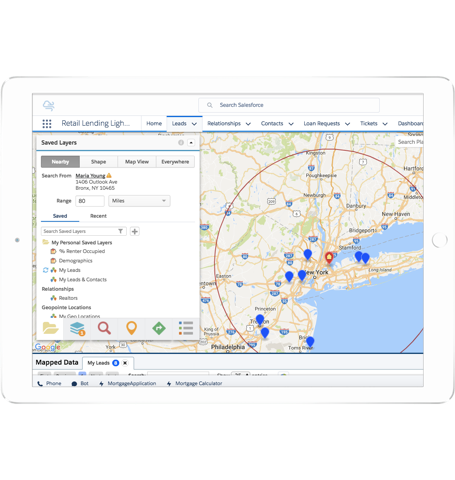 Screenshot showing Cumulus realtor partners on a map filtered by their proximity to Rachel in the New York region]