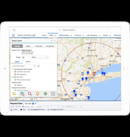 地図上に Cumulus の不動産仲介パートナーが表示されているスクリーンショット。ニューヨーク地域で Rachel からの距離によって絞り込まれています。