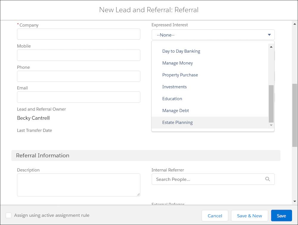 New Lead and Referral dialog box showing Estate Planning on the Expressed Interest picklist.