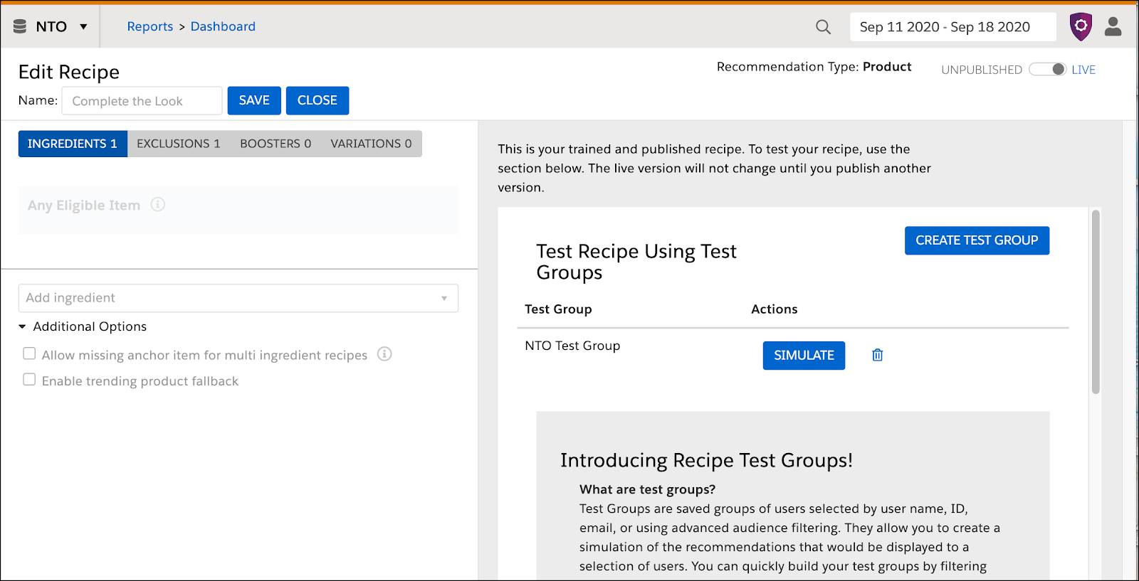 NTO Edit Recipe screenshot with options to create test groups.
