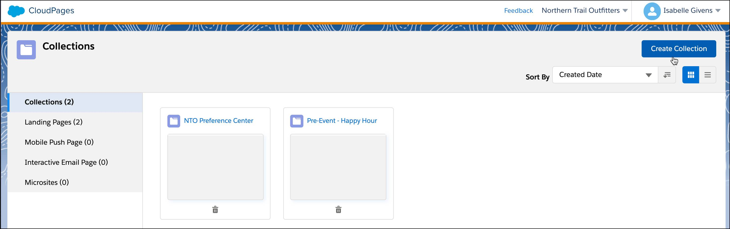 Create Collection button on the Overview page of CloudPages.