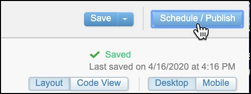 Schedule/Publish button selected.