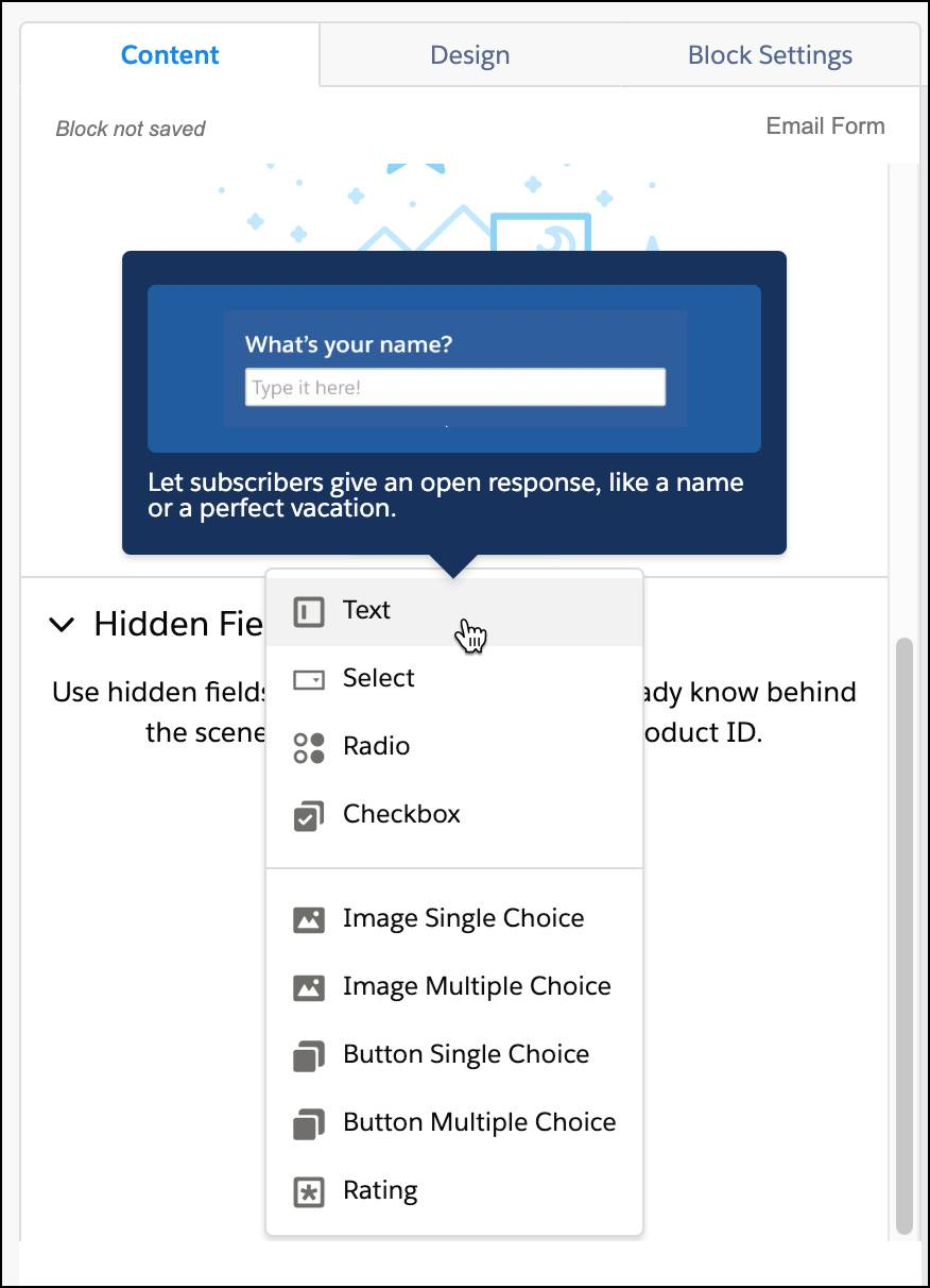 """Input selections menu with text selected and a sample question, """"What's your name?"""""""