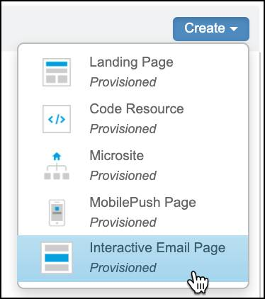 Create dropdown menu in CloudPages with Interactive Email Page selected.
