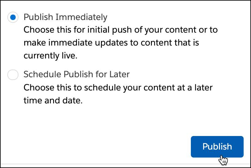 Publish immediately radio button selected and publish button selected.