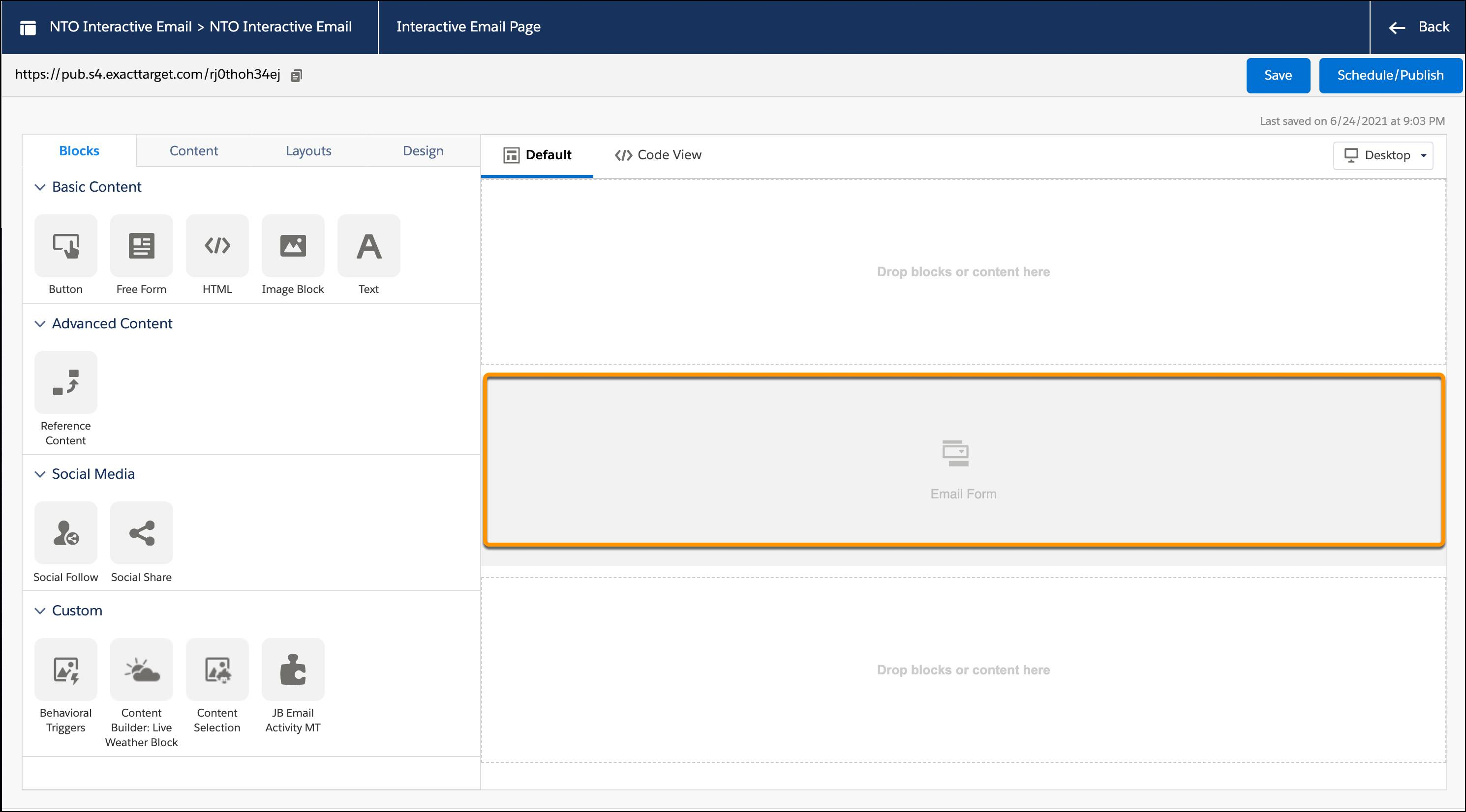 Interactive Email page with the middle row, Email Form, selected and circled.