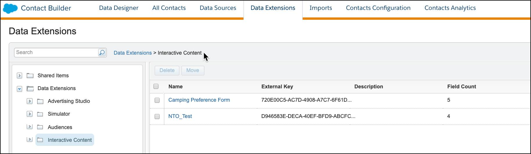 Interactive Content data extension files shown in the Data Extensions folder in Contact Builder.