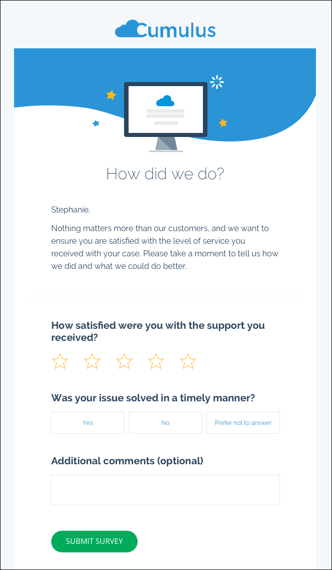 Cumulus Bank email using an Interactive Email Form to ask customers how they would rate their support, if their issue was solved timely, and if they had additional comments.
