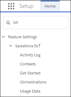 Setup menu with IoT entered in the Quick Find box