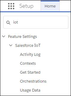 [クイック検索] ボックスに「IoT」と入力されている [設定] メニュー
