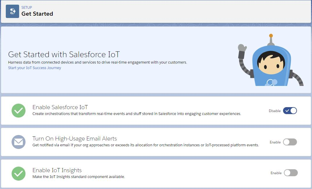 Salesforce IoT Get Started page with Salesforce IoT enabled