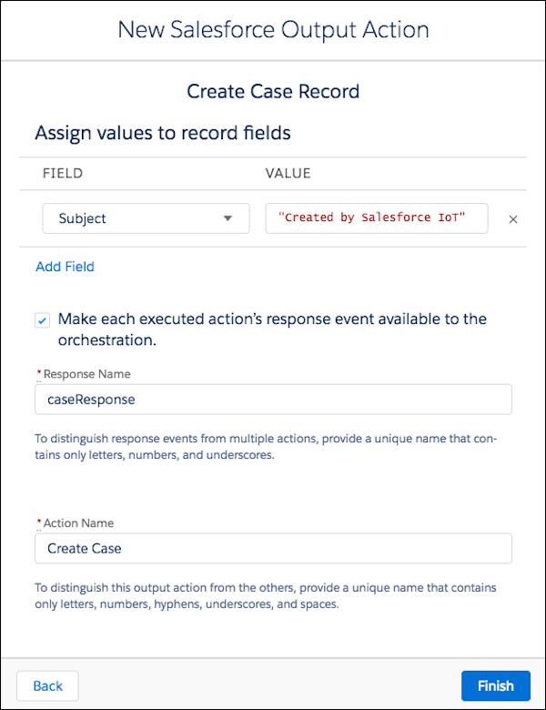 New Salesforce Output Action: Create a Case dialog box