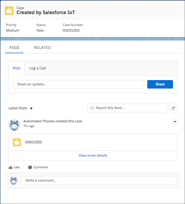 New case created by Salesforce IoT