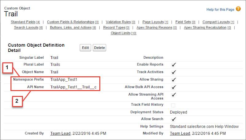 Screen showing Namespace Prefix and API Name using namespace