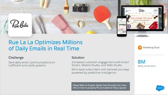 成功したメールソリューションが企業と顧客をつなぐ上でどう役立つかを説明するカスタマーストーリースライド。写真がスライド上部の横いっぱいに表示されています。下部には、課題とソリューションが提示されています。