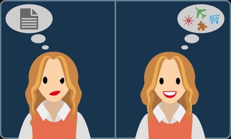 2 人の女性: 一方は顔をしかめてテキストについて考え、もう一方は微笑みながら画像について考えています。