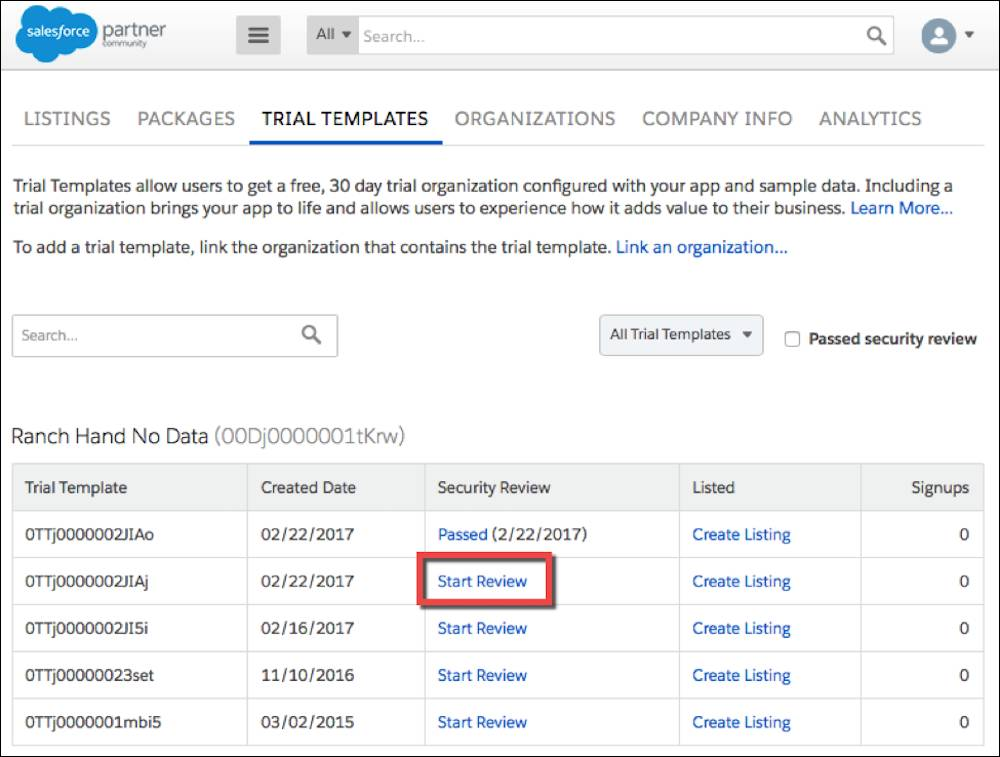 Starting a review from your trial template list