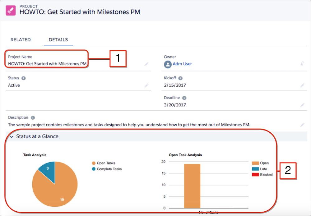 Milestones Project Management アプリケーションの概要画面