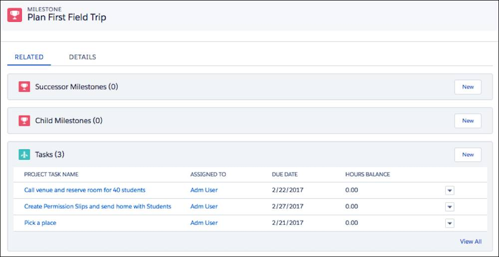 Milestones アプリケーションのサンプル校外学習データ