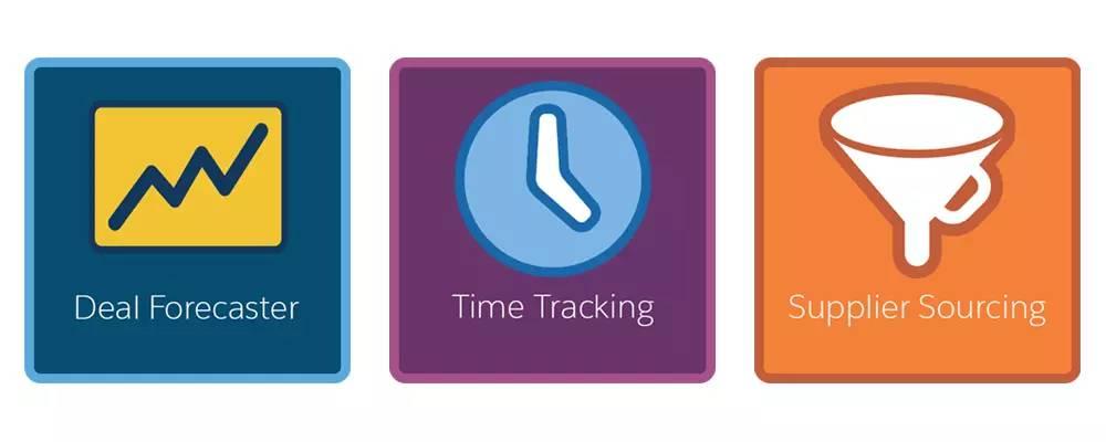 これから説明する、案件予測、時間追跡、納入業者の部品調達のシナリオを表すアイコン