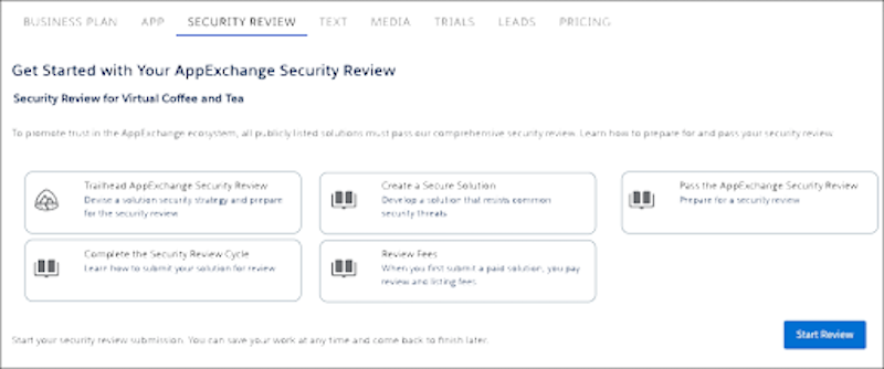 An app listing Security Review home page