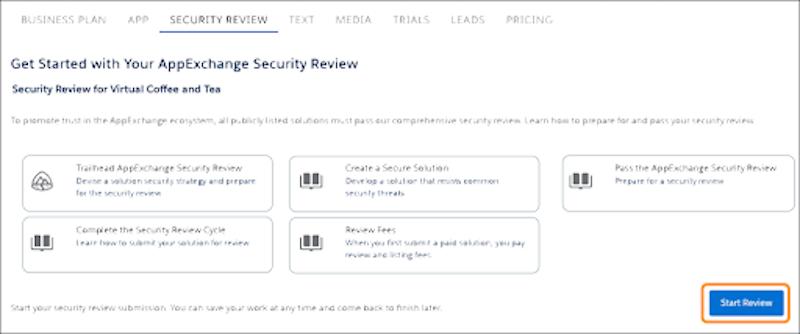 Salesforce パートナーコミュニティの [セキュリティレビュー] ホームページ