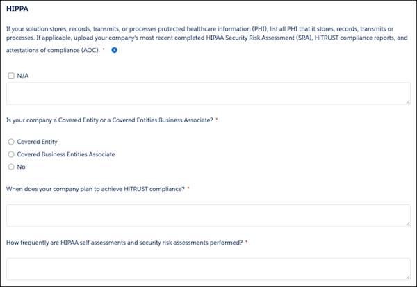 [コンプライアンス] セクションの HIPAA の詳細