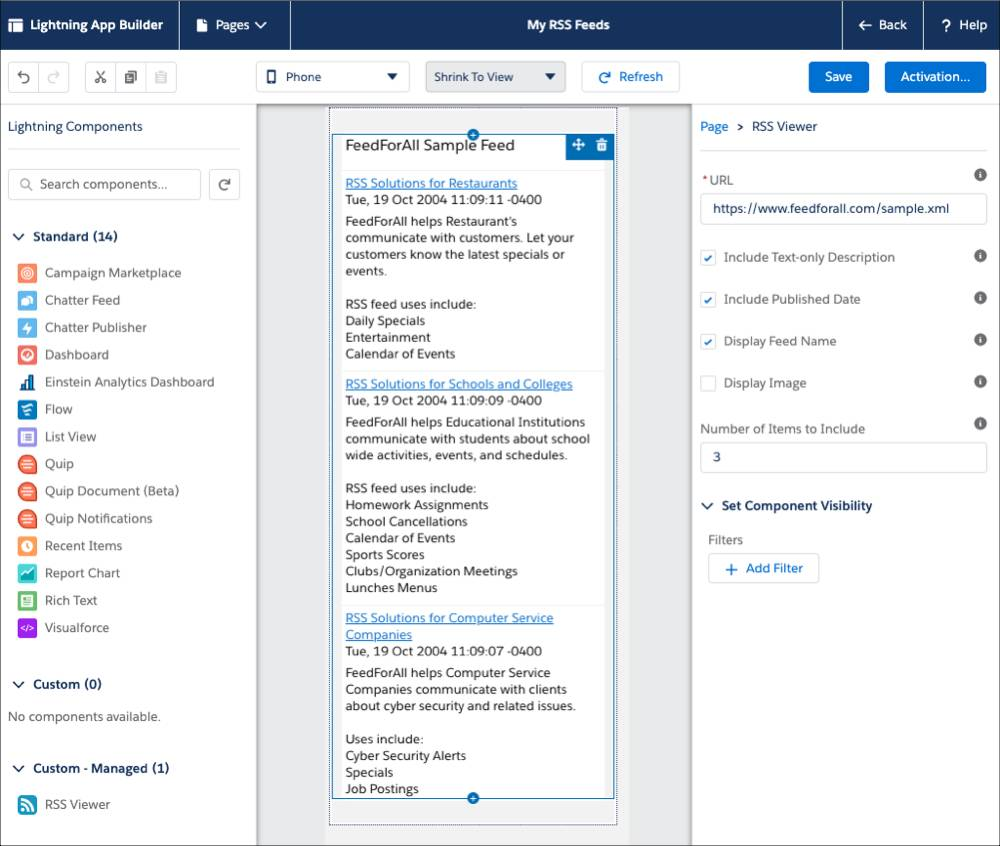 A view of the Lightning App Builder canvas