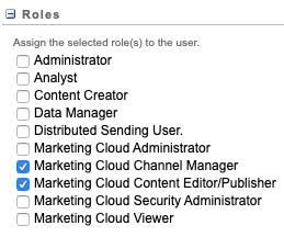 Navegue até a guia Conta em Administração para atribuir papéis de usuário.