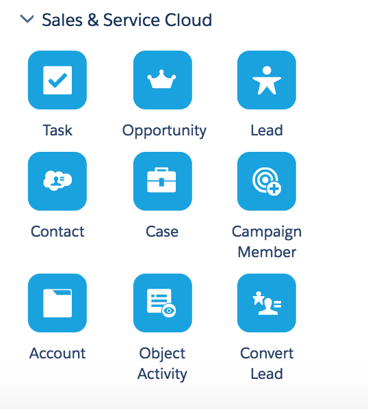 Sales and Service Cloud activities available for use within a journey include: Task, Opportunity, Lead, Contact, Case, Campaign Member, Account, Object Activity, and Convert Lead. These activities are only available for accounts that have the Salesforce Marketing Cloud Connector installed.