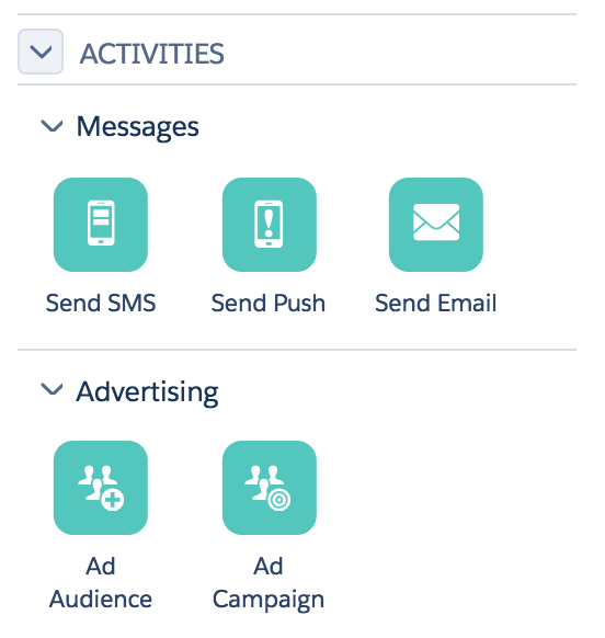 Message activities used in a journey include: SMS, Push, Email and other content sent to your customer.