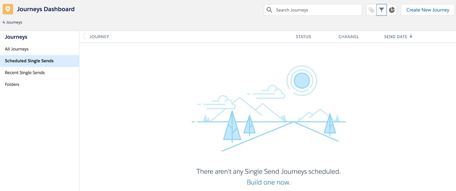 Leeres Journey-Dashboard für eine Journey mit einzelnem Versand