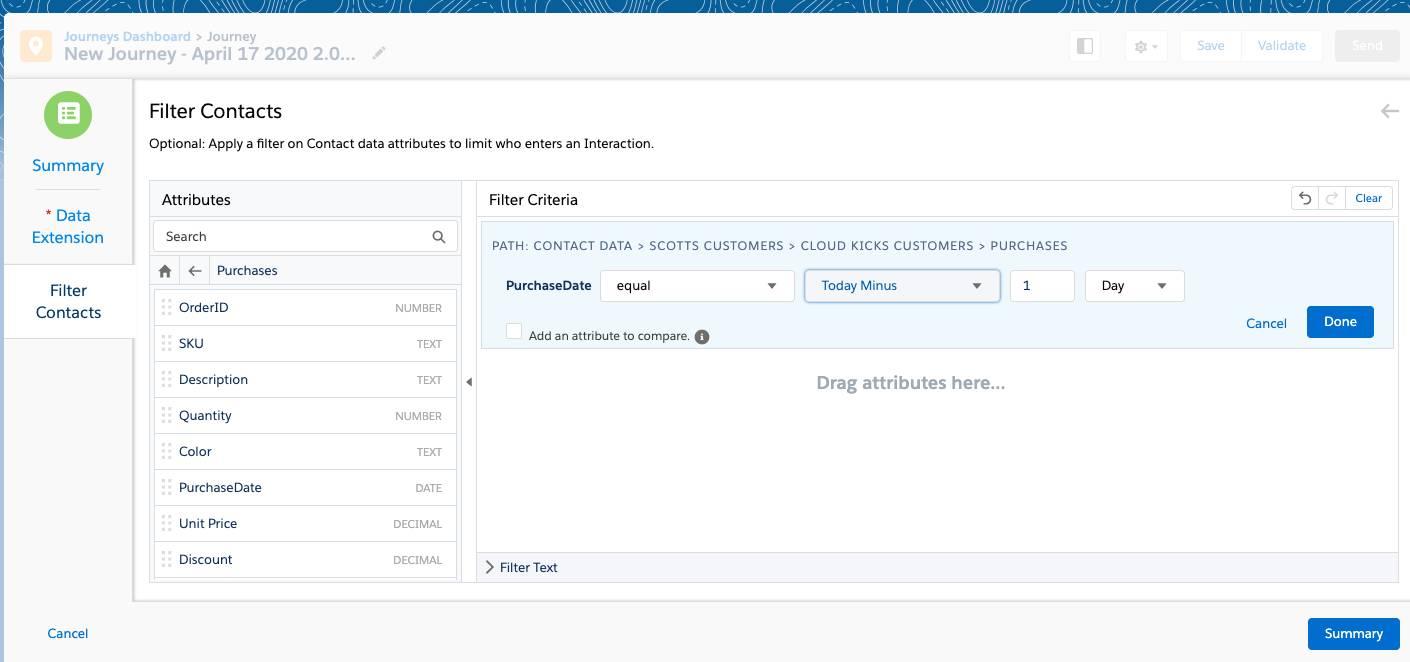 Filtern von Kontakten in einer Journey mit einzelnem Versand