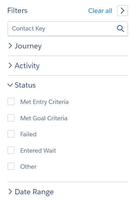 Use filters to refine your journey history view based on journey name, activity type, status, or date range.
