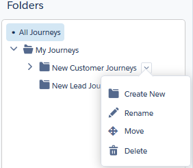 The folders panel in the Journey Builder administration screen includes journey folders you create and the default My Journeys folder. Create, rename, move, or delete journey folders here.