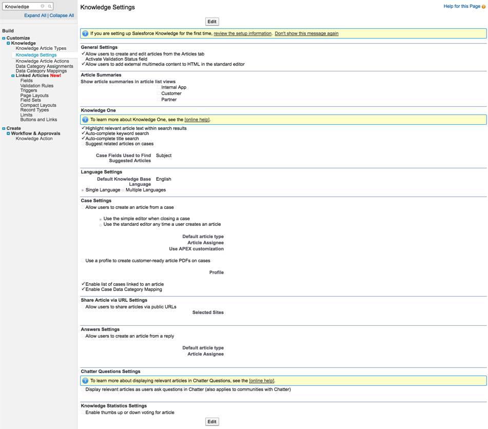 Página Configurações do Knowledge