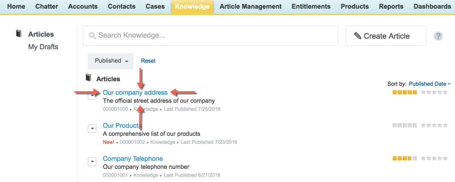 Artikel auf Registerkarte 'Knowledge'