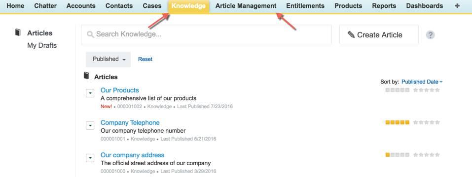 Guias Gerenciamento de artigos e Knowledge na barra de guias do centro de contato